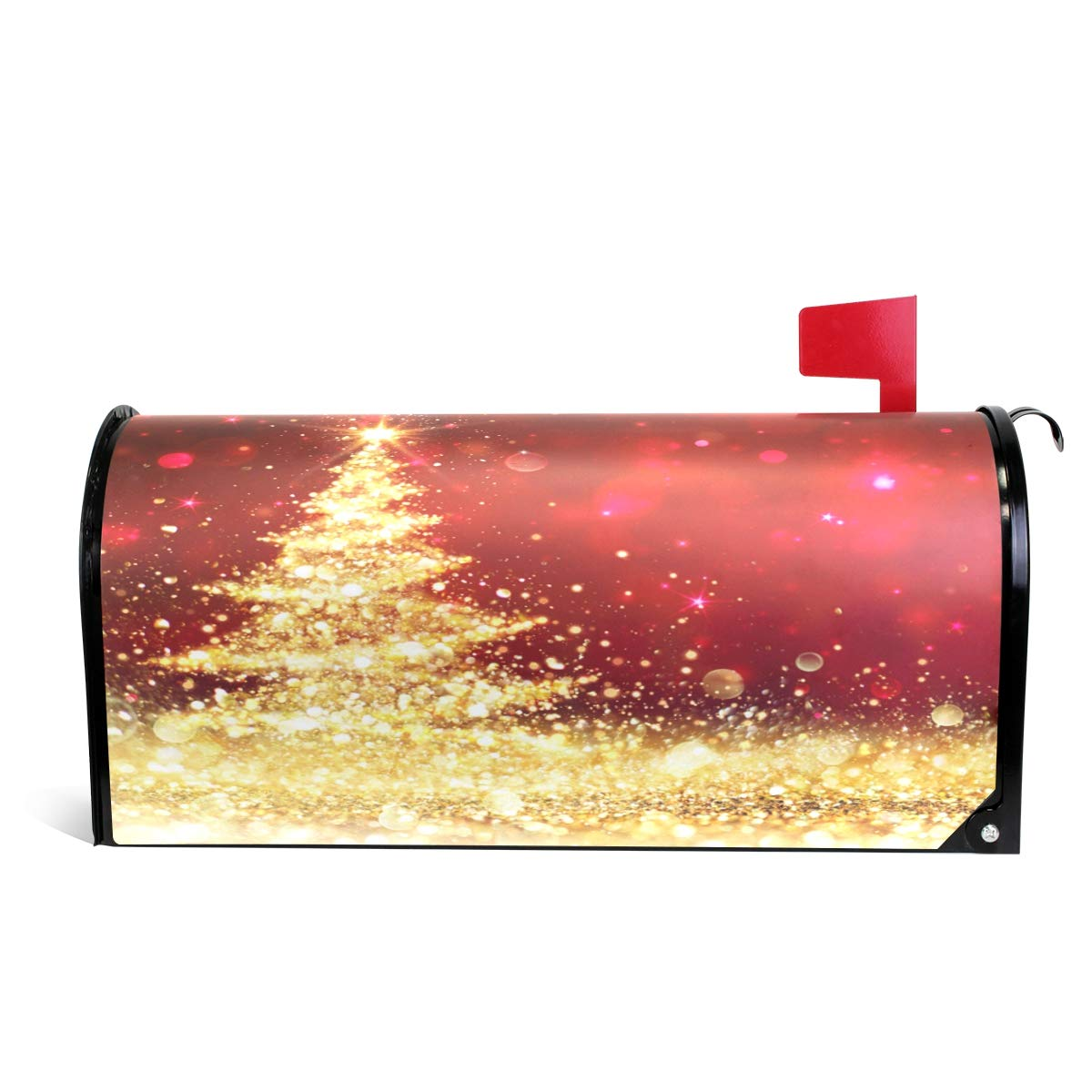 """Naanle Christmas Holiday Magnetic Mailbox Cover, Golden Glitter Christmas Tree Mailbox Wrap Home Decorative for Large Size 25.5""""(L) x 20.8""""(W)"""