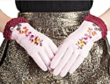 HOMEE Women'S Leather Gloves Sleeves Fleece Lined Short Inlaid Artificial Diamonds Black Blue Pink,Pink,Small