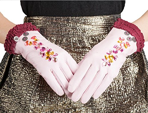 HOMEE Women'S Leather Gloves Sleeves Fleece Lined Short Inlaid Artificial Diamonds Black Blue Pink,Pink,Small by HOMEE