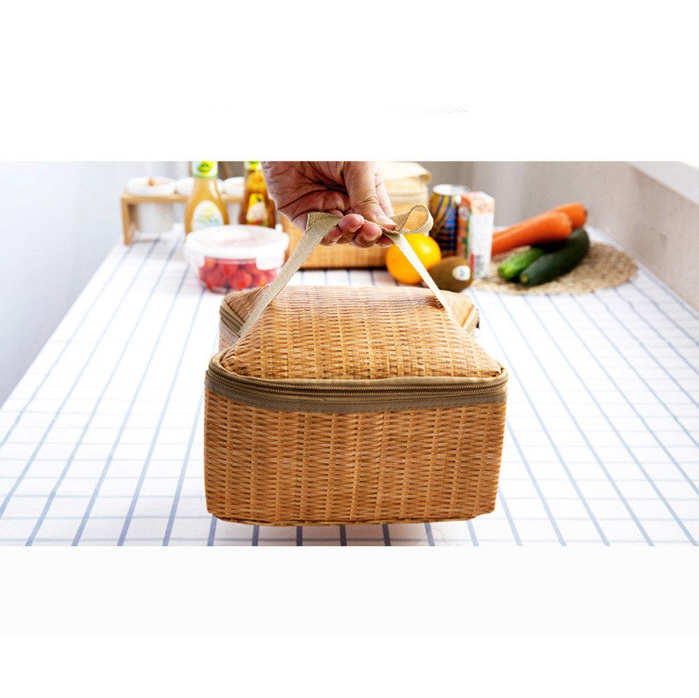 Work lunches Khaki, 22 * 14 * 12cm Travel Outdoor Activities June# Imitation Rattan Shockproof Insulation Lunch Bag Picnic Waterproof and Fresh Insulation Bag,Perfect for Picnic