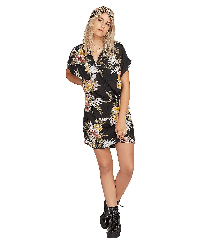 Volcom RAGN Flower Dress Vestiti Donne Nero Abiti Corti
