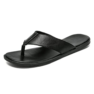 64df45a24d9 Mens Slippers Casual Thong Flip Flops Shoes Genuine Leather Beach Slippers  Non-Slip Soft Flat Sandals Black