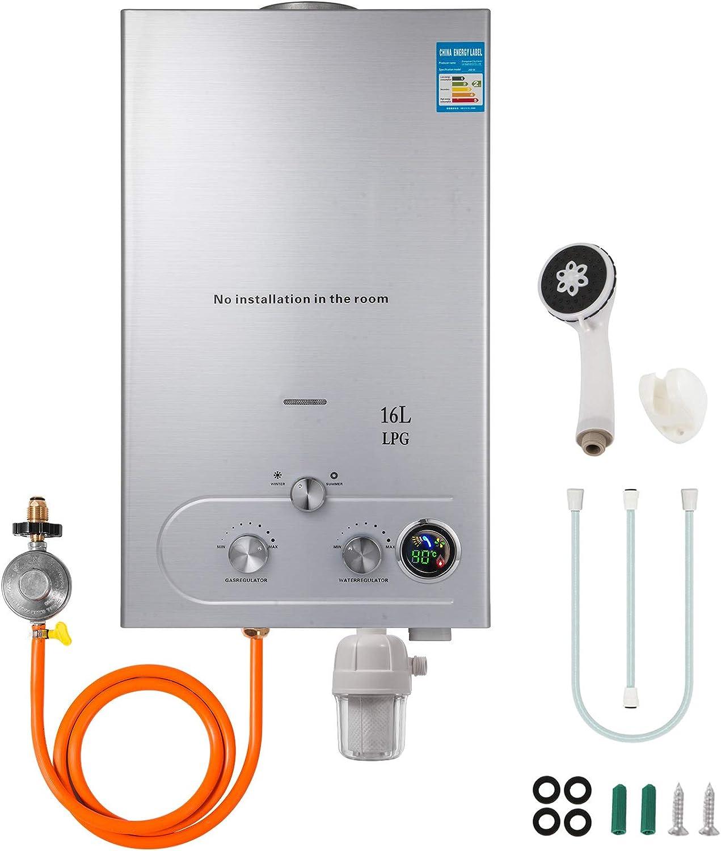 Husuper Calentador de Agua de LPG 16L 32KW Calentador de Agua de Gas Licuado Calentador de Agua Automático con LCD Calentador de Agua Instantáneo Propane Gas Hot Water Heater