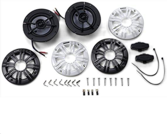 Speakers 4 X Kicker 40PS42 4 Inch Weather-Proof Powersports Vehicles 2-Way 2-Ohm Coaxial ATV Boat Bundle with Enrock 16g 50 Feet Speaker Wire Marine 2 Pair Motorcycle