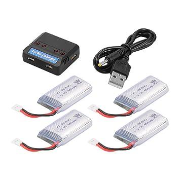 Cargador Recargable de 4pcs 3.7V 850mAh + USB 4in1 de la batería ...