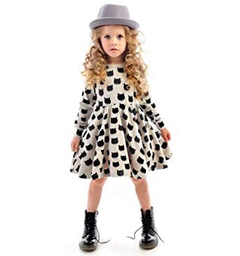 7590c66863 iceko Girls Holiday Dress Graffiti Cat Printed Long Sleeve Toddler Holiday  Dresses for Girls (90cm