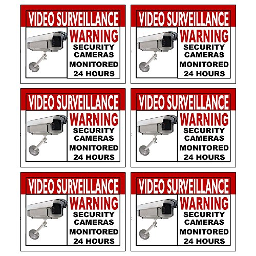 (Best Quality Home Security Sign and Business Camera & Video Surveillance Sticker for Indoor Outdoor Use Long Lasting Weatherproof Window & Door Warning Alert 24 Hour Surveillance Decal 4x3 in - 6 Pack)