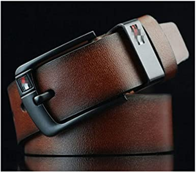 Fashion Men/'s Belt Cowskin Leather Waistband Casual Pin Buckle Belt for Jeans