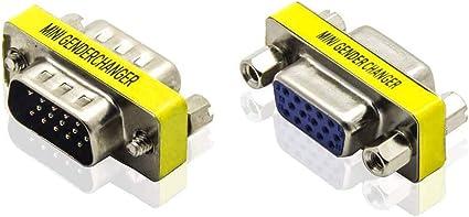 ADWITS HD15 VGA SVGA Hembra a Hembra, Macho a Macho Mini Adaptador de Acoplamiento del Cambiador de Género, Convertidor de 15 Pines para PC Video Ordenador Proyector de TV