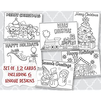 Christmas Coloring Greeting Cards Holiday Greetings Printed Assortment 12 Flat
