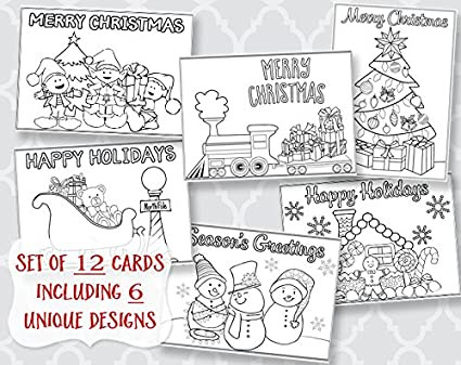 Amazon christmas coloring greeting cards holiday greetings christmas coloring greeting cards holiday greetings printed assortment 12 flat m4hsunfo