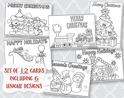 Christmas, Coloring, Greeting Cards, Holiday Greetings, Printed, Assortment, 12 Flat Cards, With White Envelopes, Kids, Adult, DIY, Crafts, Grandchildren, Assortment Pack (Printed Invites Flat)
