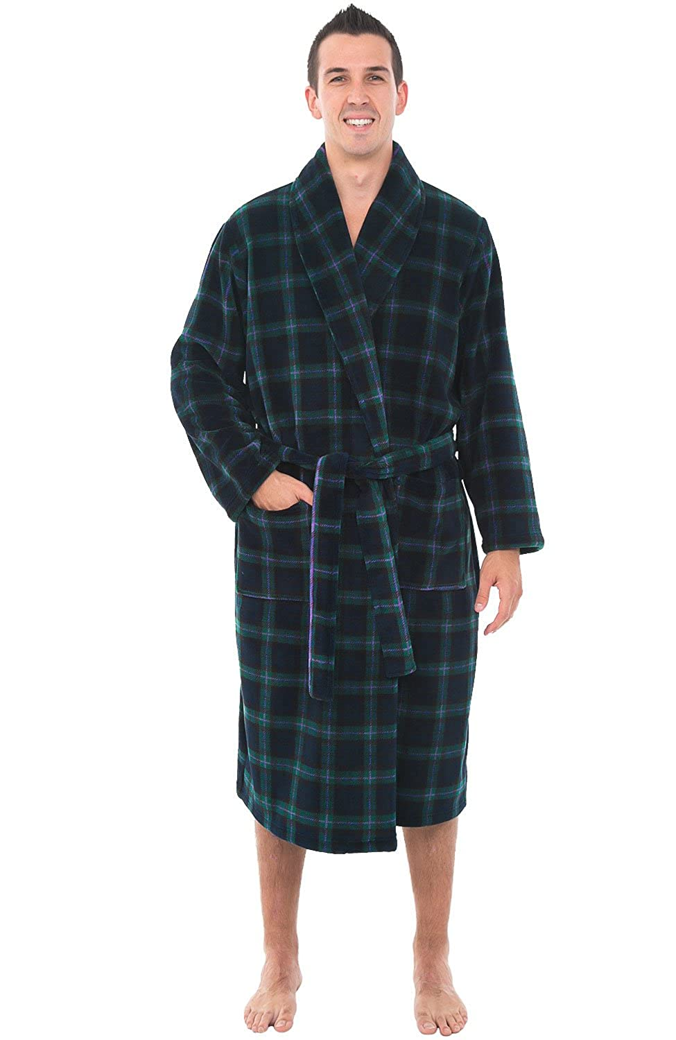 Alexander Del Rossa Mens Plaid Fleece Robe, Shawl Collar Bathrobe A0114-Plaids