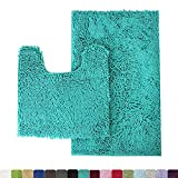 MAYSHINE Bathroom Rug Toilet Sets and Shaggy Non Slip Machine Washable Soft Microfiber Bath Contour mat (Turquoise,32'' 20''/20'' 20'' U-Shaped)