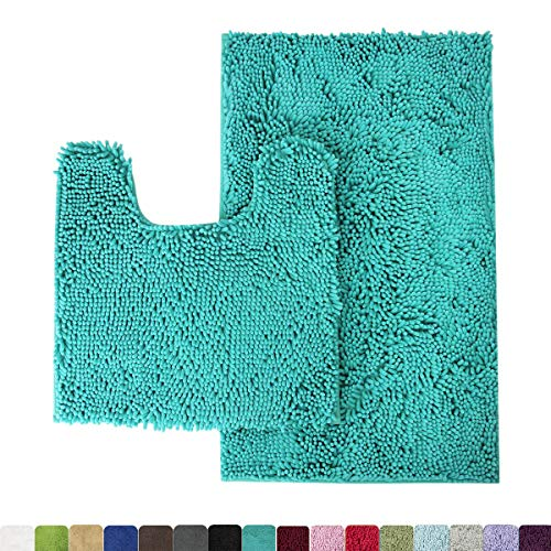 (MAYSHINE Bathroom Rug Toilet Sets and Shaggy Non Slip Machine Washable Soft Microfiber Bath Contour mat (Turquoise,32