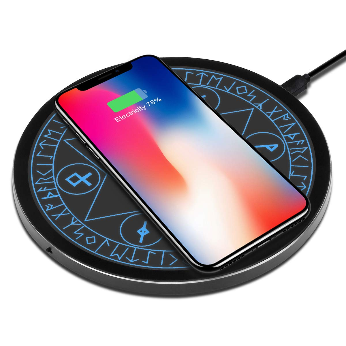 Wireless Charger Qi 10W Wireless Charging Pad, 7.5W Compatible with iPhone 11/Pro/Max/XS Max/XR/XS/X/8/Plus, 10W Fast Charging Samsung Galaxy S10/S10e/S9/S8/Plus/+/Note 10/9/8 and More (No AC Adapter) by OLAHO
