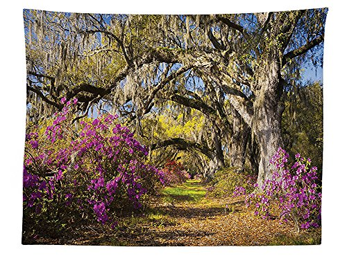 8' Charleston Collection (vipsung Americana Landscape Decor Tablecloth Flowers in Charleston South Carolina Azalea Blooms Oak Tree Dining Room Kitchen Rectangular Table Cover Violet Purple)