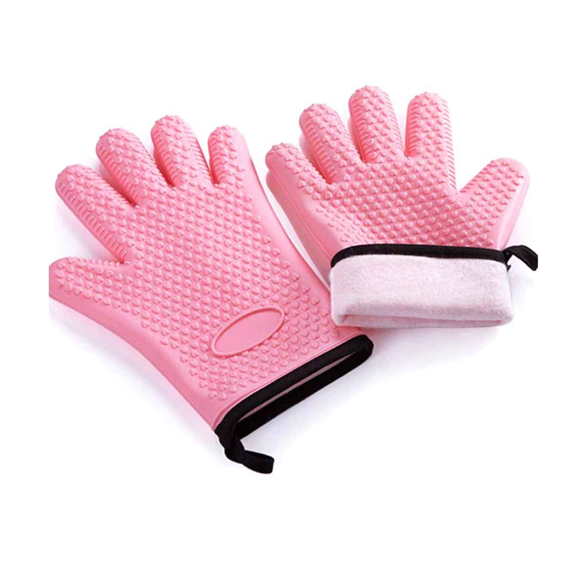 Haoyunlaifentiao Anti-scalding Gloves, Silicone Microwave Oven Insulated Gloves, Oven High Temperature Resistant Kitchen (Color : Pink)