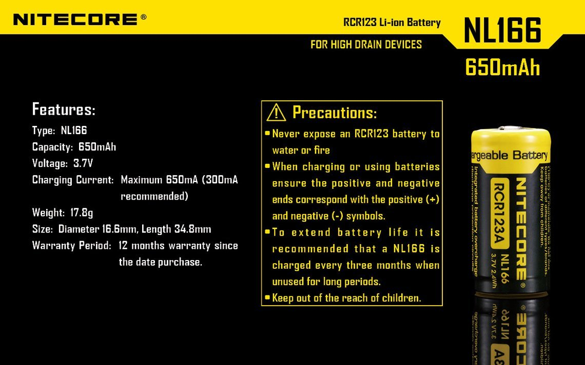 Bundle 8 Pack Nitecore NL166 RCR123A 3.7V 650mA 2.4Wh Protected Li-ion 650mAh 16340 Rechargeable Batteries with EdisonBright USB powered LED reading light by EdisonBright (Image #7)