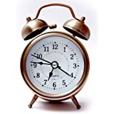 WOODSTER Alarm Clock for Heavy Sleepers Analogue Vintage Look Twin Bell Table Alarm Wind-Up Clock with Night Led Light (Copper)