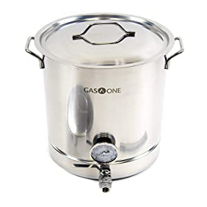 GasOne 16 Gallon Stainless Steel Home Brew Kettle Pot Pre Drilled 4 PC Set 64 Quart Tri Ply Bottom for Beer Brewing Includes Stainless Lid Ball Valve Spigot and Plug - Home Brewing Supplies