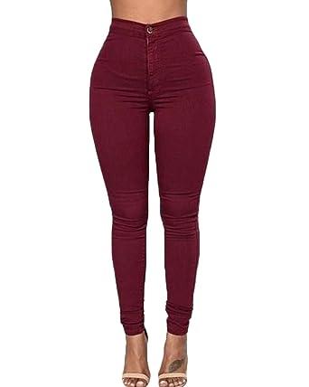 ZANZEA Mujer Jeans Cintura Alta Casual Elástico Skinny Pantalones Vaqueros