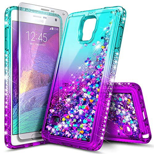 Galaxy Note 4 Case with Tempered Glass Screen Protector for Girls Kids Women, NageBee Glitter Liquid Sparkle Bling Floating Quicksand Waterfall Diamond Cute Case for Samsung Galaxy Note 4 -Aqua/Purple (Samsung Note 4 Case Bling Wallet)
