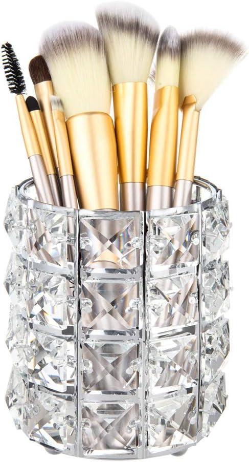 Kerzenhalter f/ür Hochzeit Home Office Dekor Kommode Kristall Kosmetik Pinsel Stift Bleistift Speicher Veranstalter Halter Pwerking Make-up Pinselhalter rundes Gold
