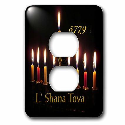 3drose jewish themes image of lit new year menorah and says l shana tova