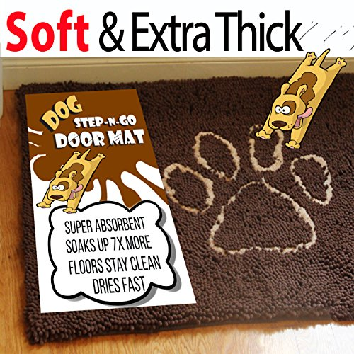 iPrimio Dog Extra Thick Micro Fiber Pet and Dog Door Mat - Super Absorbent. Includes Water Proof Liner - Extra Floor Protection - Medium Size 32