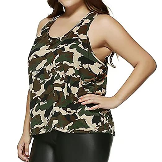 b005b2fe9314d7 YKA-shirt Women Plus Size Sleeveless Loose Camouflage Vest Blouse Tank Tops  Camis Clothes (