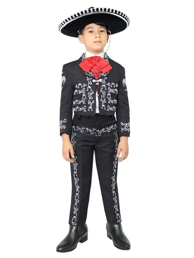 Little Boys Black Silver Embroidered Mariachi Pants Jacket Hat Set 6