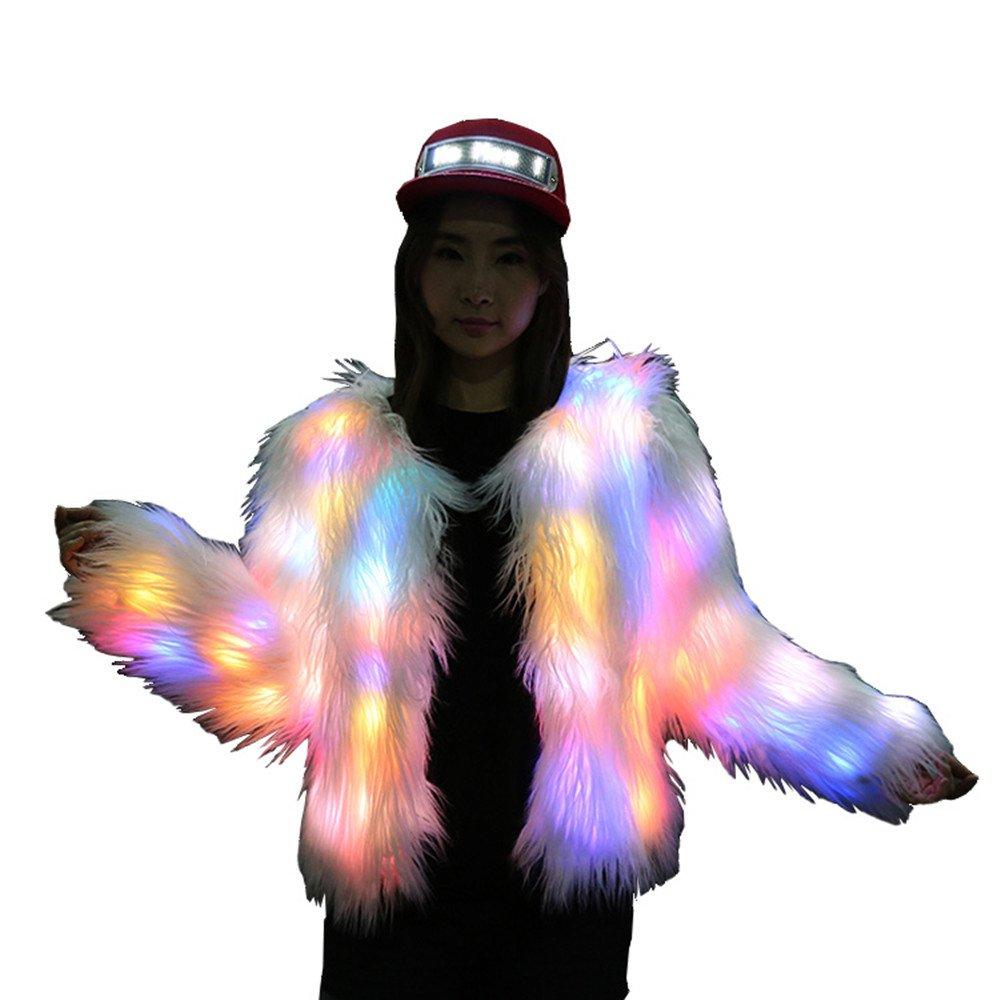 Women Faux Fur Outwear Light up Burning Glow Fluffy LED Costume (XS, Fur Sleeve)