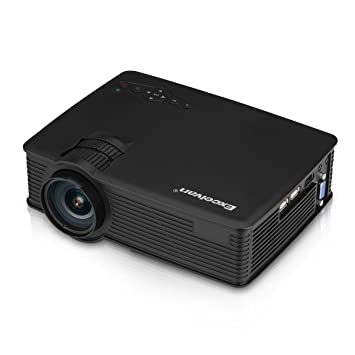Excelvan EHD09 - Mini Proyector portátil LED 1200 Lúmenes Multimedia (800*480 pixels, HDMI/USB/SD/AV/VGA/3.5mm), con cable HDMI y altavoz incorporado ...