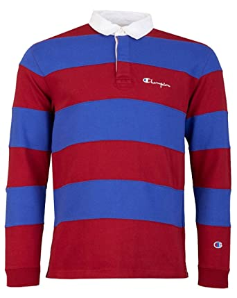 Champion Reverse Weave Striped Long Sleeved Rugby Polo Shirt ...