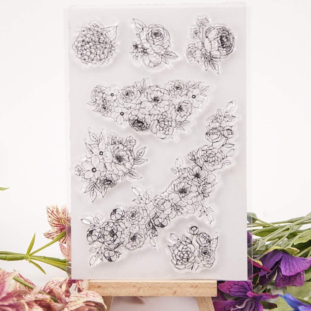 Silikon Stempel Set Clear Stamps ECMQS Blumen-Rebe DIY Transparente Briefmarke Schneiden Schablonen Bastelei Scrapbooking-Werkzeug