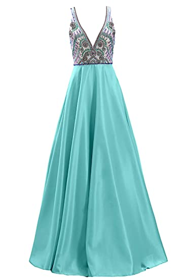 d934799ef382 MACloth Women Deep V Neck Beaded Long Prom Dress Open Back Satin Evening  Gown: Amazon.co.uk: Clothing