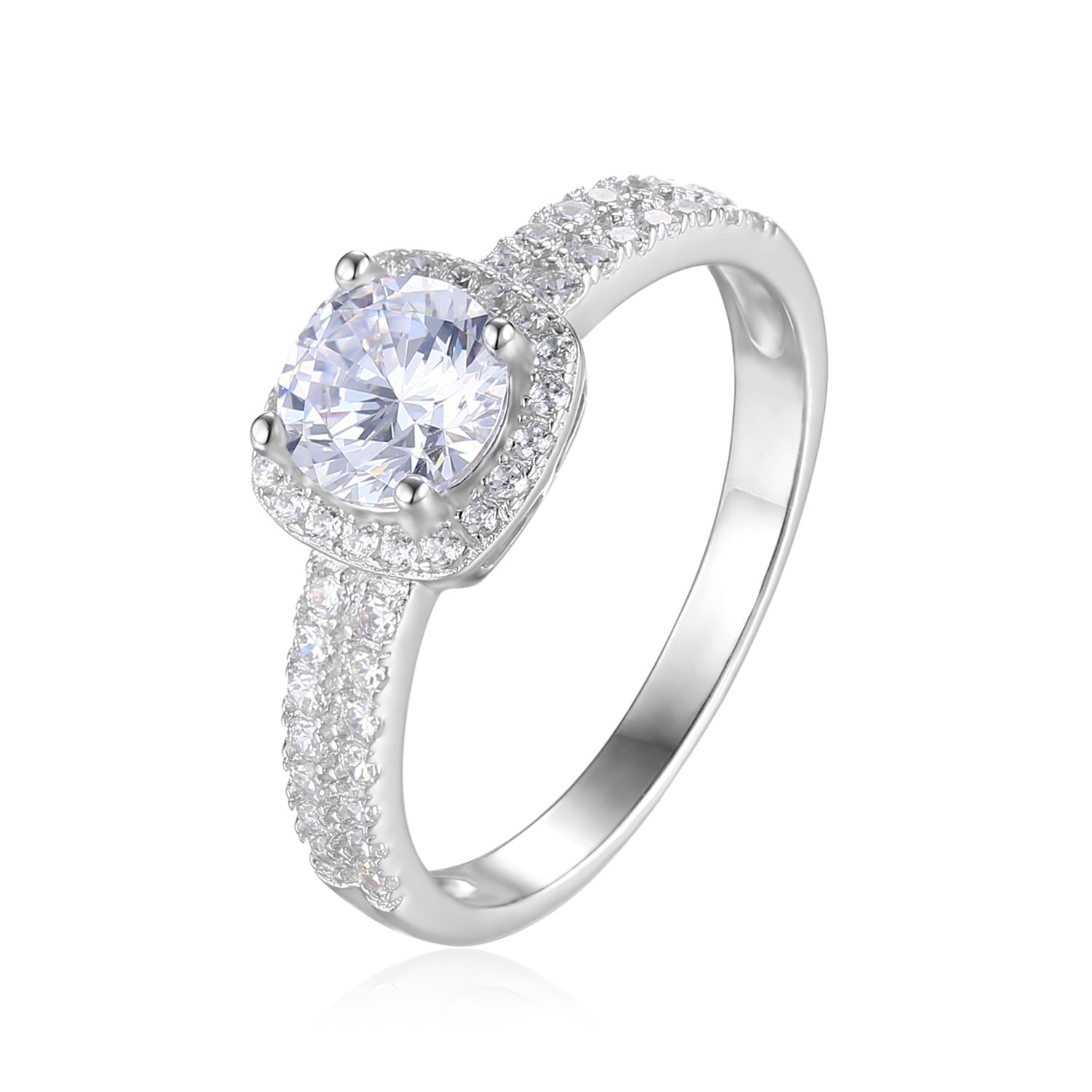 JewelryPalace Anillo Halo Compromiso 1ct Zirconia Cúbica ...