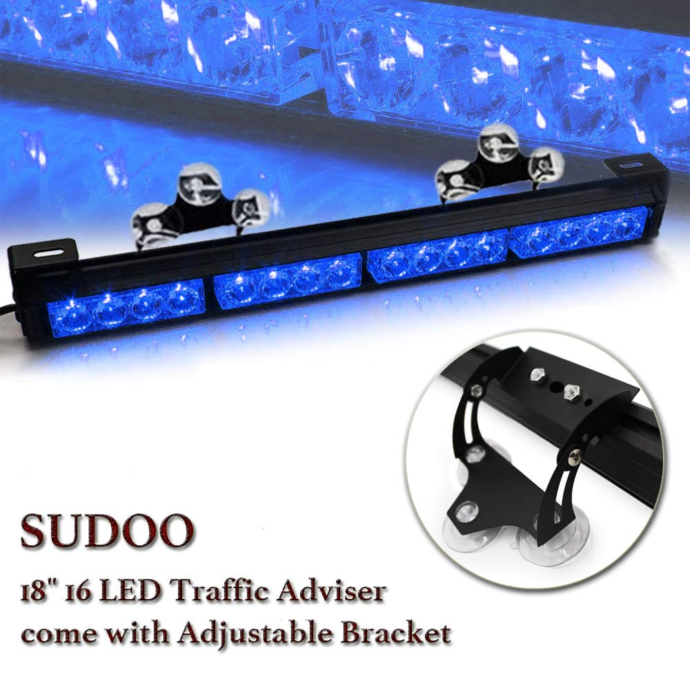 18 16 LED 13 Flashing Strobing Modes High Intensity Law Enforcement Traffic Advisor Hazard Emergency Warning Strobe Light Bar Kits for Truck Undercover Vehicle w//Adjustable Large Suction Cup Bracket