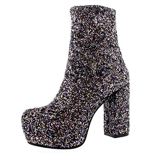 Womens Suede Fashion Dress Platform Winter Short Block Heel Ankle Boots - Multi Glitter - US7/EU38 - YE0020 (Platform Heel Womens Block)