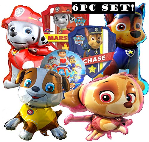 6PC Set PAW Patrol Skye Marshall Chase Ruble Bone Latex Balloons Party Supplies Decorations Balloon Balloons Favors Goody Bags Centerpiece