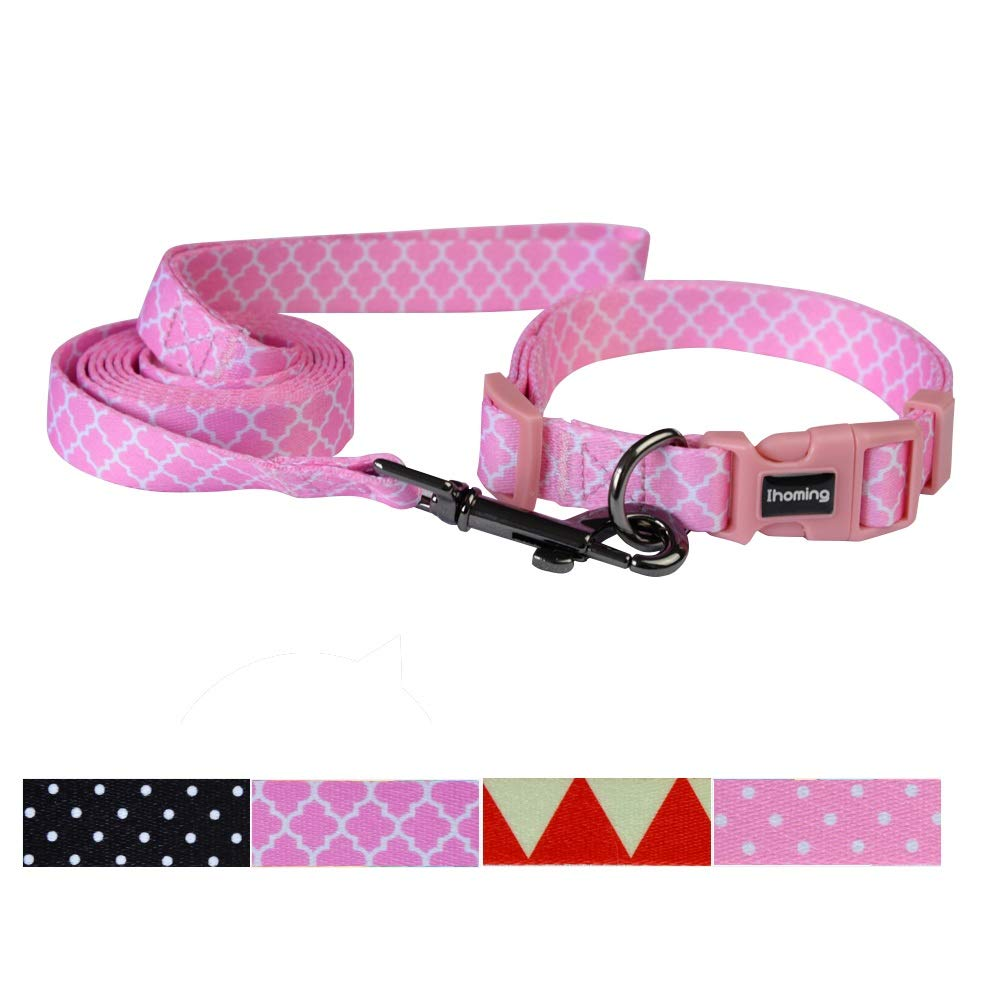 Mgoldccan Trellis Pink MUp to 45 LBSIhoming Pet Collar Leash Set Halloween Pumpkin Combo Safety Set for Daily Outdoor Walking Running Training Small Medium Large Dogs Cats Dot Black Medium