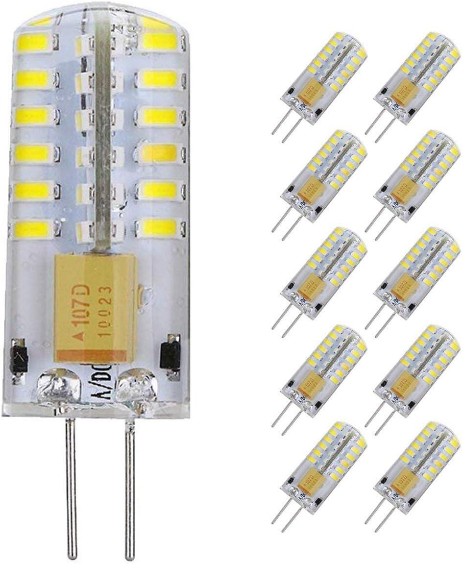 Pocketman Paquete de 10 3 Watt AC/DC 12V G4 Bombillas LED Equivalente a la lámpara halógena de 30W, 6000k Luz fría