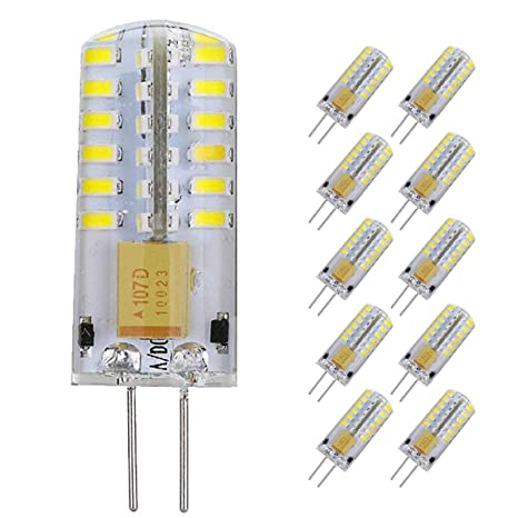 Pocketman Paquete de 10 3 Watt AC/DC 12V G4 Bombillas LED Equivalente a la