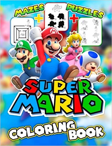Super Mario Coloring Book Amazing Activity Book For Kids With Mazes