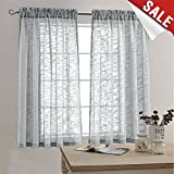 63 inch curtains 2 panel - Linen Look Sheer Curtains for Bedroom 63 inch Length Window Curtain Panels Rod Pocket Window Treatment Set for Living Room (2 Panels, Grey)