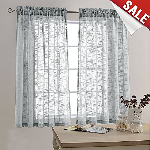 Linen Look Sheer Curtains for Bedroom 63 inch Length Window Curtain Panels Rod Pocket Window Treatment Set for Living Room (2 Panels, ()