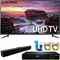 Samsung 58' Smart MU6100 Series LED 4K UHD TV with Wi-Fi (UN58MU6100FXZA) with HDMI HD DVD Player, Solo X3 B.tooth Home Theater Sound Bar, 2x 6ft HDMI Cable & Screen Cleaner for LED TVs