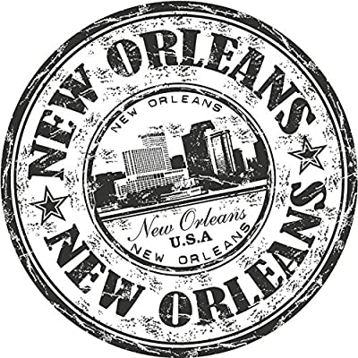 New Orleans City USA United States Travel Grunge Stamp Sticker Decal Design 5'' X 5''
