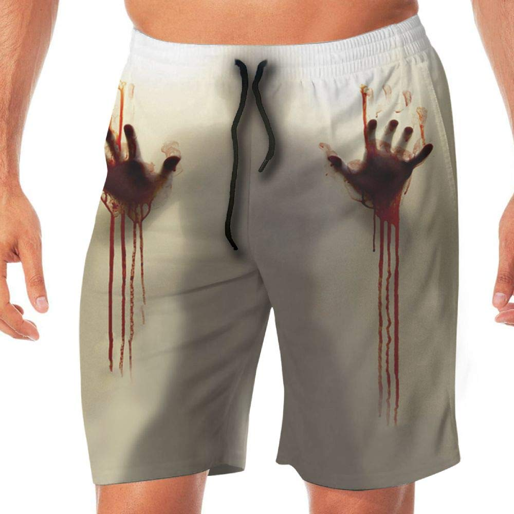 Haixia Mens Adjustable Board Short A Bloody Hand On A Glass Door Looks Terrible by Haixia
